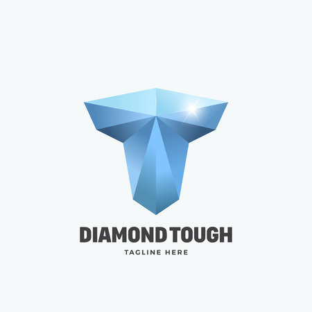 tough: Diamond Tough Letter T. Abstract Vector Emblem, Sign or Logo Template. Strength Symbol. Mighty Torso Silhouette. Isolated.
