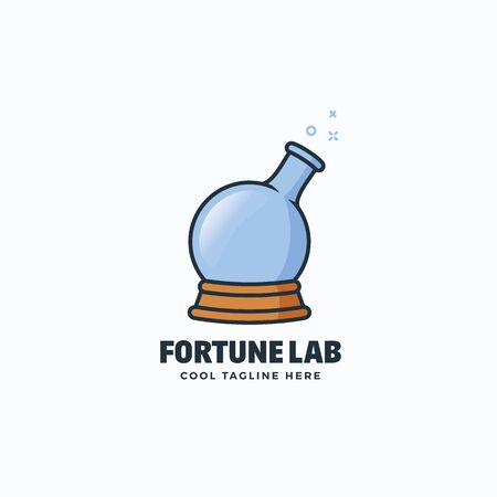 fortune concept: Fortune Lab Abstract Vector Sign, Emblem or Logo Template. Magic Ball and Chemistry Flask Concept Symbol. Isolated. Illustration