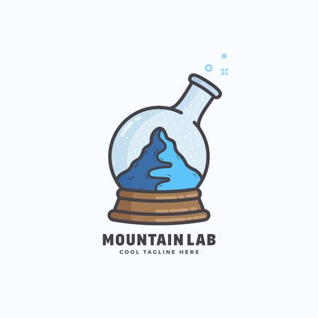 laboratory label: Mountain Lab Abstract Vector Sign, Emblem or Logo Template. Snow Ball and Chemistry Flask Concept Symbol. Isolated.