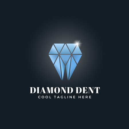 dent: Diamond Dent Abstract Concept. Vector Emblem, Sign or Logo Template. Tooth Shaped Shiny Brilliant Symbol. Illustration
