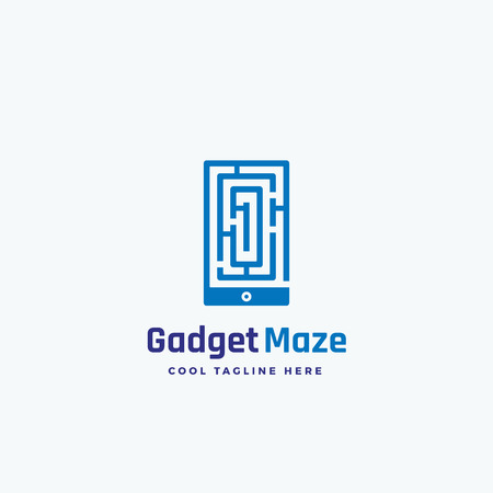 Gadget Maze Abstract Vector Sign, Emblem or Logo Template. Labyrinth in a Smartphone Silhouette Concept.