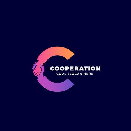 Cooperación Resumen Vector Sign, Symbol o Logo Template. Hand Shake Incorporated en Letter C Concept. En el fondo oscuro. Logos