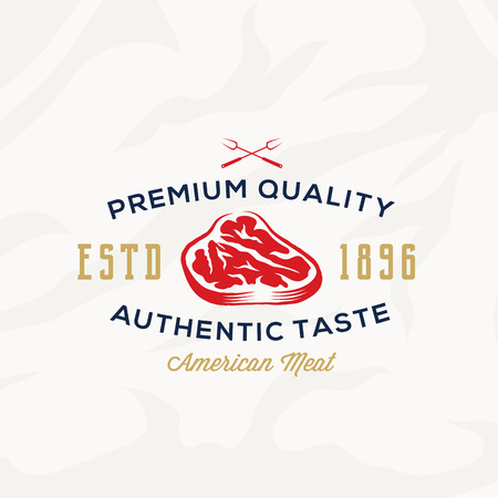 meat steak: Premium Quality Meat Steak abstract Vector Retro Typography Label, Emblem or Logo Template. On Textured Background.