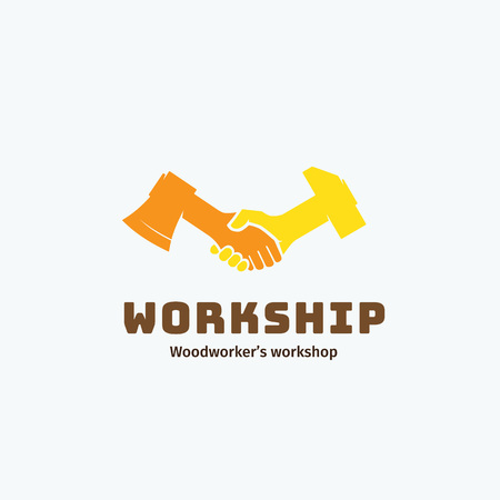 mutual help: Work and Friendship Abstract Vector Symbol, Icon, Emblem or Logo Template. Woodworkers Workshop Logotype. Handshake of Axe and Hammer Creative Concept Symbol. Isolated.