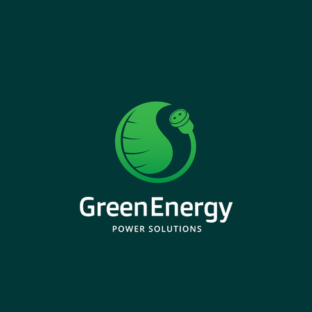 green power: Green Energy Power Solutions Abstract Vector Sign