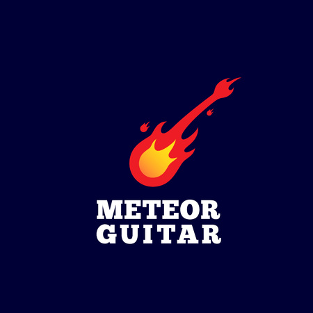 Meteor Guitar Abstract Vector Sign, Emblem or Logo Template. Music Instrument Shaped Comet Silhouette.