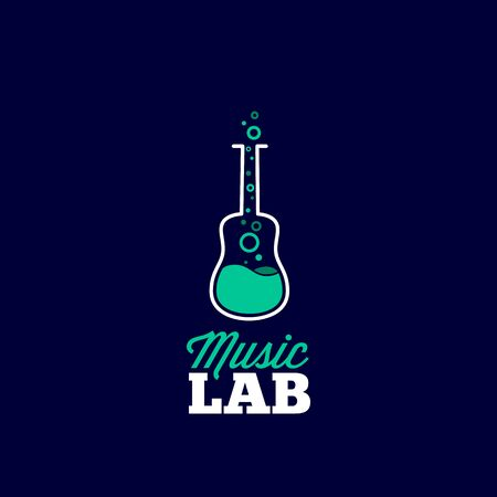 sign store: Music Laboratory Abstract Vector Sign, Emblem or Logo Template. Guitar and Chemical Flask Creative Concept Silhouette. Good for Instruments Store and Musical Education.