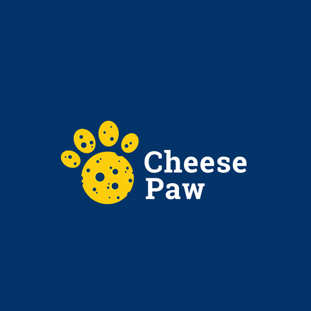 cheddar: Cheese Paw Abstract Vector Sign, Emblem or Logo Template. Round Cute Footprint Silhouette.