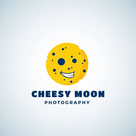 Cheese Moon Photography Abstract Vector Sign, Emblem or Logo Template. Round Laughing Lunar Face Silhouette. Çizim