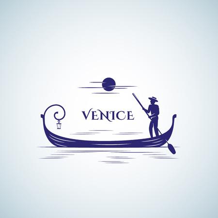 Venedig-Boots-abstraktes Vektor-Zeichen, Emblem-Schablone. Schwimmende Gondel, Mond und Schiffer Silhouette.