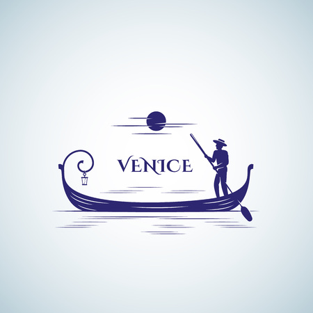 Venice Boat Abstract Vector Sign, Emblem Template. Floating Gondola, Moon and Boatman Silhouette.