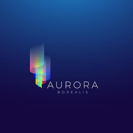 Aurora Borealis Abstract Vector Sign, Emblem or Logo Template. Premium Quality Symbol on Dark Background.