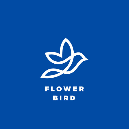 Flower Bird Abstract Vector Icon, Label or Logo Template. Line Style Silhouette. White on Blue Background.