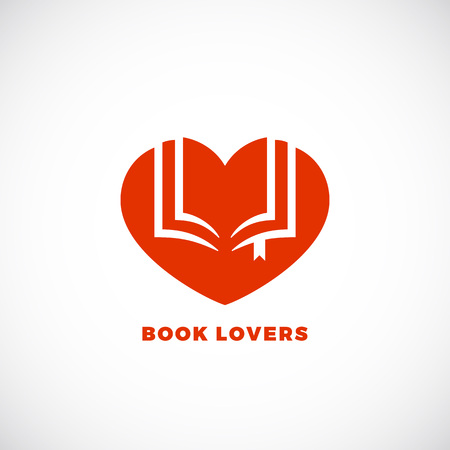 heart sign: Book Lovers Abstract Vector Sign, Emblem or Logo Template. Negative Space Open Book in a Heart Silhouette. Isolated. Illustration