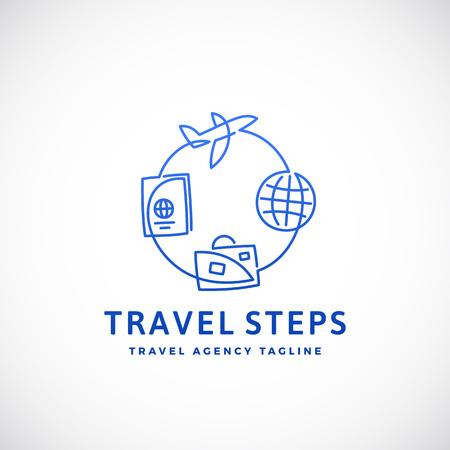Pasos de viaje Resumen Vector señal, emblema o logotipo plantilla. Ilustración de estilo de línea.