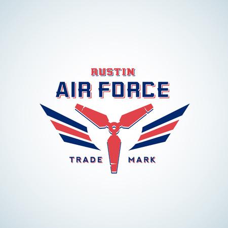空気力ベクトルのレトロなラベル、記号またはロゴのテンプレート。赤と青の色の翼を持つ飛行機 Airscrew。 写真素材 - 77459579