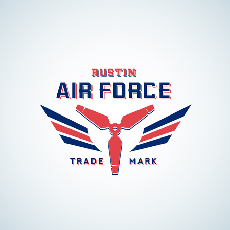 Air Force Vector Retro Label, Sign or Logo Template. Aeroplane Airscrew with Wings in Red and Blue Colours. Illustration