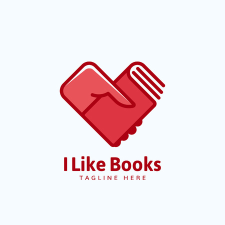hand holding sign: I Like Books Abstract Vector Sign, Emblem or Logo Template. Hand Holding a Book in a Heart Shape.