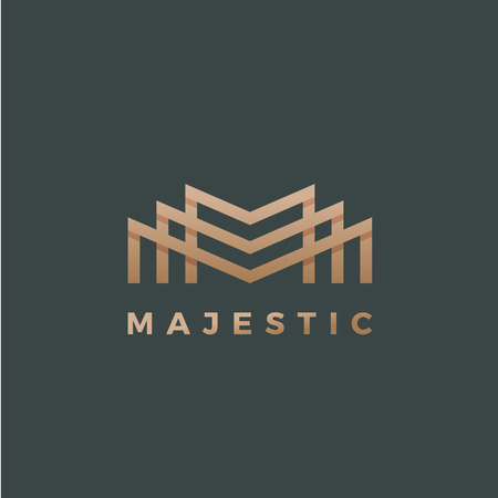 雄大な抽象的な幾何学の最小限のベクトル記号、記号、またはロゴのテンプレート。プレミアム ライン スタイルの文字エンブレム。影の金。暗い背  イラスト・ベクター素材