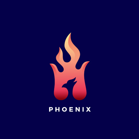 Negative Space Phoenix Flame Abstract Vector Sign, Symbol or Logo Template. Vibrant Color Gradients. Illustration