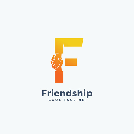 Friendship Abstract Vector Sign, Symbol or Logo Template. Hand Shake Incorporated in Letter F Concept.