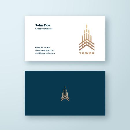 Toren abstracte geometrie minimale Vector teken, symbool of logo en sjabloon voor visitekaartjes. Premium lijnstijl bouwconcept. Onroerend goed embleem.