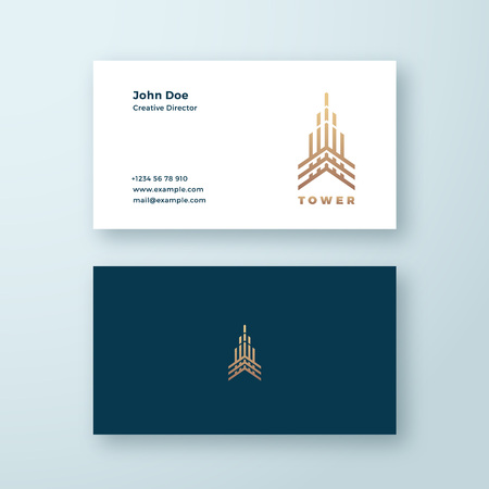 Tower Abstract Geometry Minimal Vector Sign, Symbol or Logo and Business Card Template. Premium Line Style Building Concept. Real Estate Emblem.