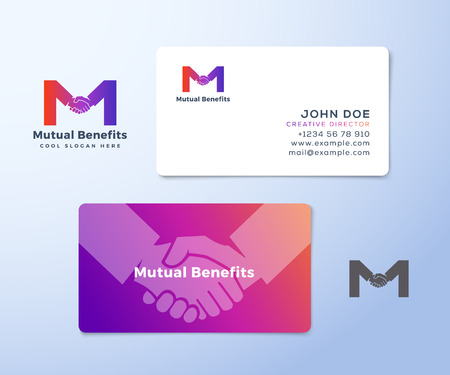 mutual help: Mutual Benefit Abstract Vector Sign, Symbol or Logo Template and Business Cards. Hand Shake Incorporated in Letter M Concept Stationary.
