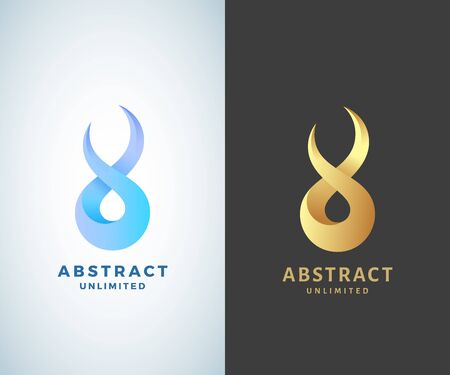Abstract Vector Infinity Sign, Emblem or Logo Template. Golden on a Dark Background and Isolated Modern Gradient Versions