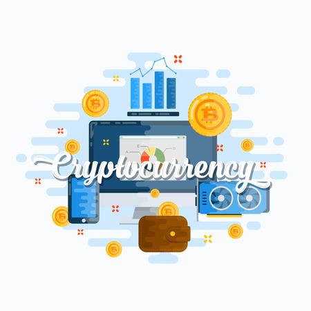 Cryptocurrency Abstract Vector Flat Style Modern Illustration. Bitcoin Digital Currency, Electronics and Infographics Icons Concept. Good Header or Banner for Your Website or Media. Isolated.