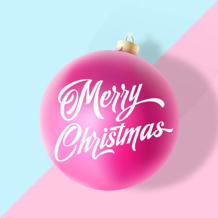 Pastel Colors Gentle Christmas Greeting Card, Poster, Banner or Party Invitation. Vector Realistic Xmas Ball with Soft Shadows and Lettering.