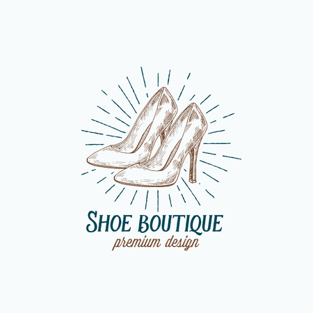 Shoe Boutique Retro Vector Sign, Symbol or Logo Template. High Heels Women Shoes Illustration and Vintage Typography Emblem.
