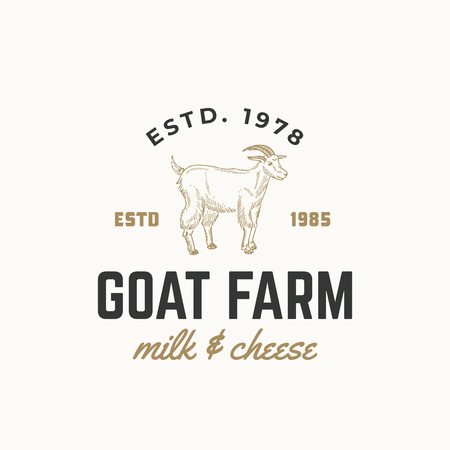 Goat Dairy Farm Abstract Vector Sign, Symbol or icon Template. Hand Drawn Goat Sillhouette with Retro Typography. Vintage Emblem. Isolated. Illustration