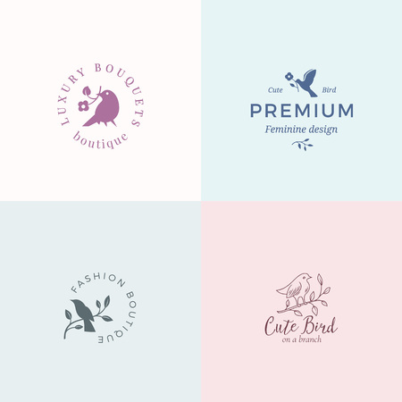 Cute Little Bird Vector Signs or Logo Templates Set. Classy Typography, Birds and Flowers. Premium Quality Feminine Emblems for Beauty Salon, SPA, Wedding Boutiques, etc.