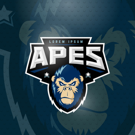 Sport Apes Abstract Vector Sign, Emblem or Logo Template. Sport Team Mascot Label. Angry Gorilla Face with Typography. On Dark Background. Vettoriali