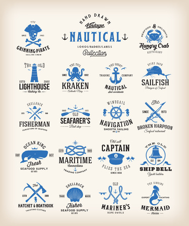 Abstract Retro Nautical Labels Collection. Vintage Sea Emblems, Signs or Logo Templates. Whales, Anchors, Octopus, Marmaid, etc. with Classic Typography.