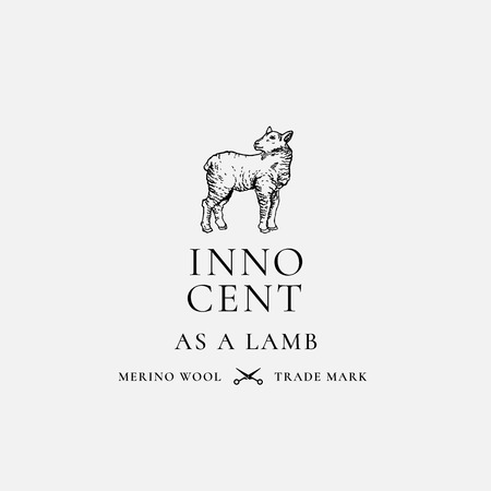 Innocent as a Lamb Hand Drawn Lamb Sillhouette with Retro Typography. Vintage Luxury Merino Wool Vector Emblem. Vettoriali