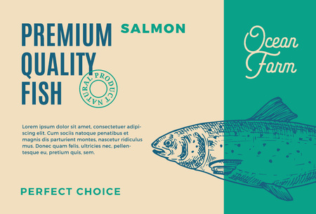 Premium Quality Salmon. Abstract Vector Fish Packaging Design or Label. Modern Typography and Hand Drawn Salmon Silhouette Background Layout Illustration