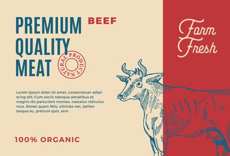 Boeuf de qualité supérieure. Conception ou étiquette d'emballage de viande de vecteur abstrait. Typographie moderne et mise en page de fond de silhouette de vache dessinée à la main