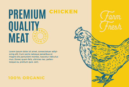 Premium Quality Chicken. Abstract Vector Meat Packaging Design or Label. Modern Typography and Hand Drawn Hen Silhouette Background Layout