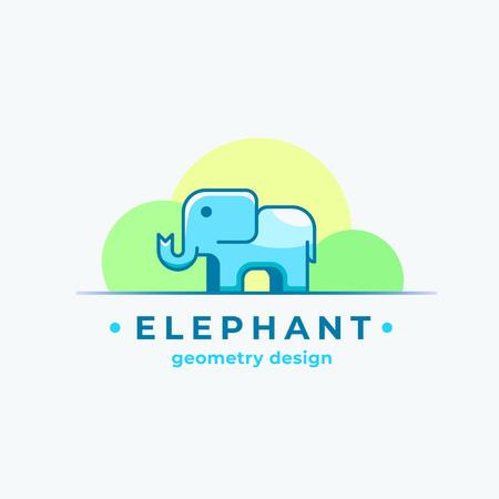 Conception de géométrie Elephan. Signe de vecteur abstrait, symbole ou modèle. Minuscule silhouette animale colorée avec une typographie moderne.