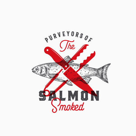 Purveyors of the Smoked Salmon. Abstract Vector Sign, Symbol or Template. Hand Drawn Salmon Fish with Classy Retro Typography. Vintage Vector Emblem with Retro Print Effect.