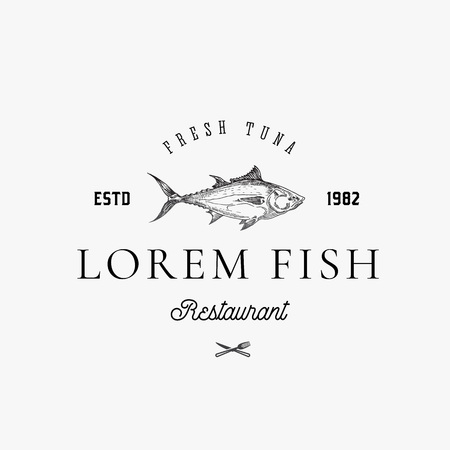 Fish and Seafood Restaurant Abstract Vector Sign, Symbol or Logo Template. Hand Drawn Tuna Fish with Classy Retro Typography. Vintage Vector Emblem. Isolated.