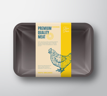 Premium Quality Hen Pack. Abstract Vector Poultry Plastic Tray Container with Cellophane Cover.