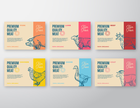 Premium Quality Meat and Poultry Labels Set. Abstract Vector Packaging Design or Label. Ilustração