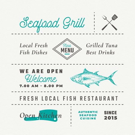Seafood Restaurant Signs, Titles, Inscriptions and Menu Decoration Elements Set. Premium Quality Retro Typography Layout with Hand Drawn Food Icons and Symbols. Vintage Fish Label Template.