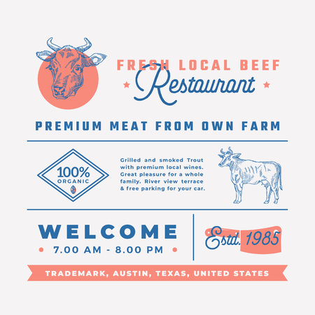 Premium quality retro typography layout with hand drawn icons and symbols of vintage cow label template.