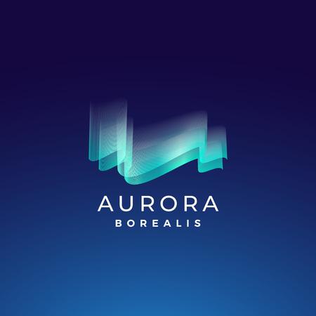 Aurora Borealis Abstract Vector-Zeichen, Emblem oder Logo Template. Nordlichtsymbol der erstklassigen Qualität in den blauen Farben mit moderner Typografie. Auf dunklem Hintergrund