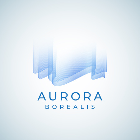 Aurora Borealis Abstract Vector Sign, Emblem or Logo Template. Premium Quality Northern Lights Symbol in Blue Colors with Modern Typography.