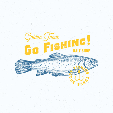 Go Fishing Golden Trout. Abstract Vector Sign, Symbol or Logo Template. Hand Drawn Trout Fish with Classy Retro Typography. Vintage Vector Emblem with Retro Print Effect and Shabby Texture. 矢量图像